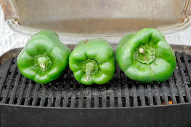 Green peppers grilling on the barbecue