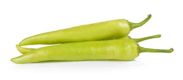 Green peppers isolated on white background