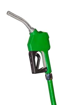 白で隔離ガソリンスタンドの緑のガソリン銃