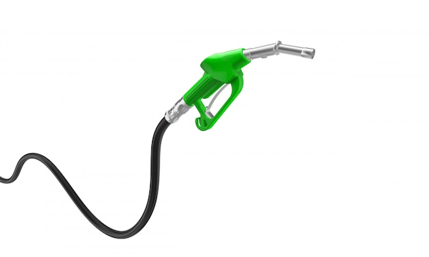 Green petrol pump. isolated on white.