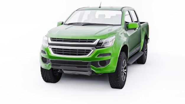 흰색 바탕에 녹색 픽업 자동차입니다. 3d 렌더링.