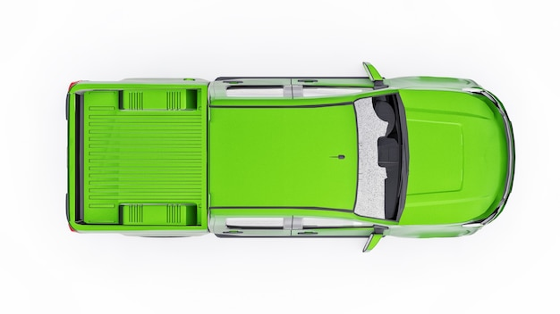 Green pickup car on a white background. 3d rendering.