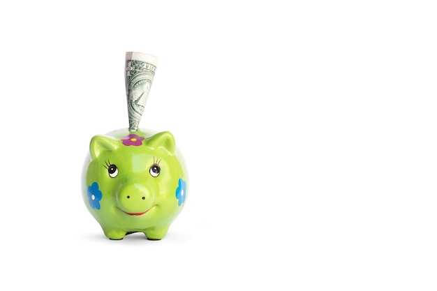 Green piggy bank and one dolar bill on a white background with copy space