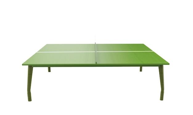 흰색 배경 3d 렌더링에 격리된 그물이 있는 녹색 탁구 보드 또는 테이블