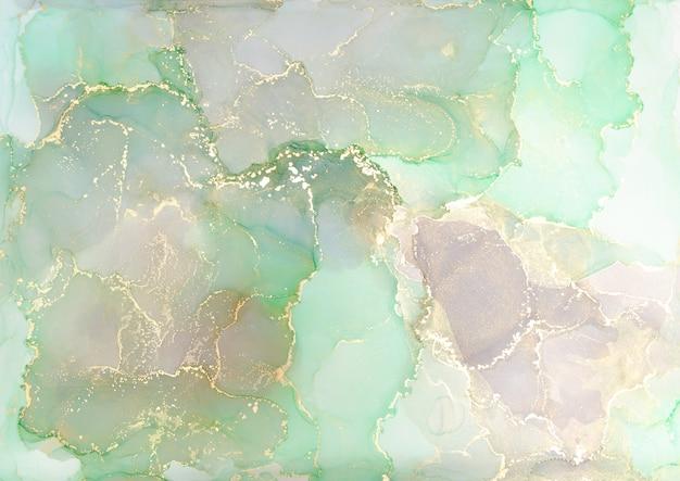 Всплеск чернил зеленого, розового и золотого спирта, краска текстуры жидкого потока, роскошный абстрактный узор изобразительного искусства цифровой бумаги, обои.
