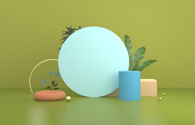 Круглая витрина с зелеными растениями