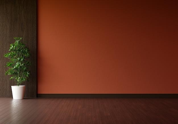 갈색 거실에 녹색 식물