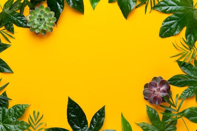 緑の植物は、黄色のレトロなビンテージスタイルに残します。