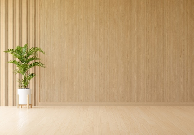 Green plant in wooden living room interior