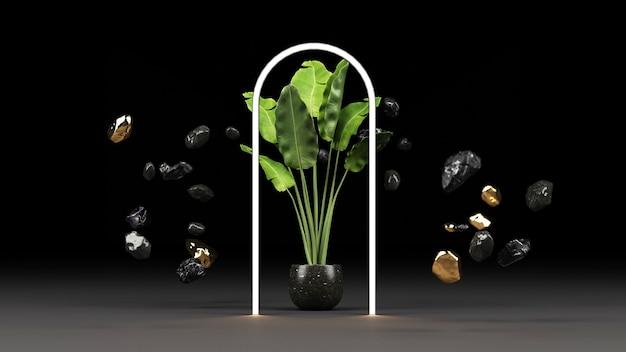 黒い大理石の鉢と金の緑の植物と輝くledライトフレームのレンダリング
