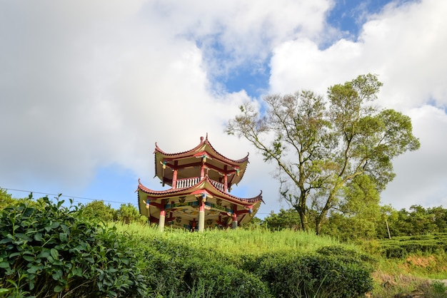 The green plants and red pavilions in the park are against the background of blue sky and white clouds