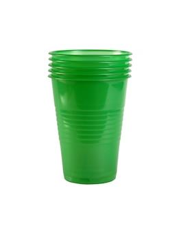 分離された緑色のプラスチックカップ