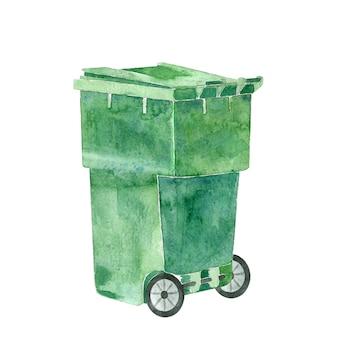 Green plastic trashbin
