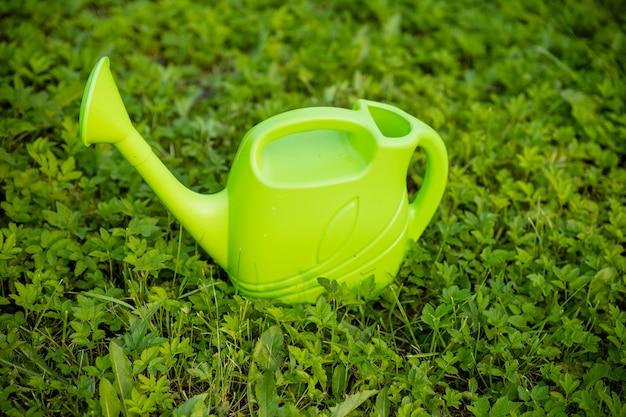 緑の草に分離された緑のプラスチック製じょうろ。庭師は水まき缶から植物に水をまきます。農業および園芸の植物に水をまく概念。