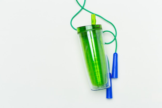 Green plastic whey shaker cup, fitness concept