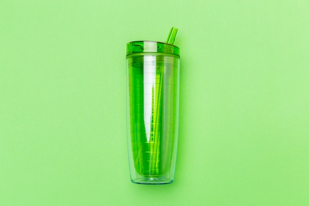 Green plastic whey shaker cup