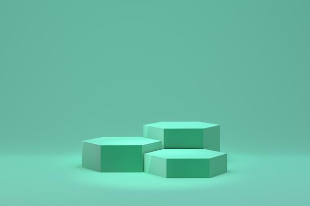化粧品のプレゼンテーションのための緑の表彰台最小限の抽象的な背景