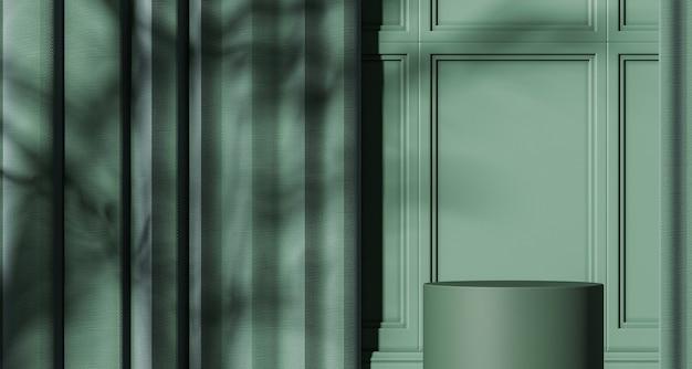 녹색 모형 장면의 녹색 연단, 양산 및 식물 그림자가 벽에 있고, 제품 또는 프레젠테이션을 위한 추상적 배경입니다. 3d 렌더링