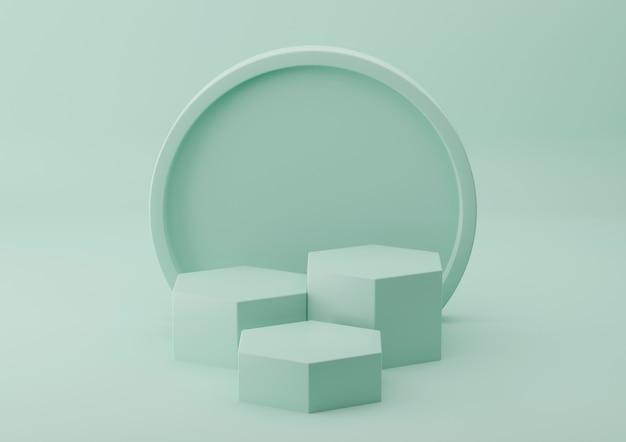 파스텔 배경으로 화장품 디스플레이 녹색 연단 제품. 3d 렌더링.