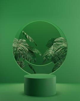 나무와 녹색 열 대 배경에 녹색 연단 스탠드 제품 배치를 위해 3d 렌더링