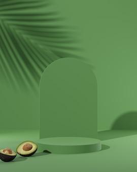 아보카도 3d 렌더링 녹색 연단 스탠드