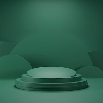 濃い緑色と湾曲した形状の背景の緑の表彰台