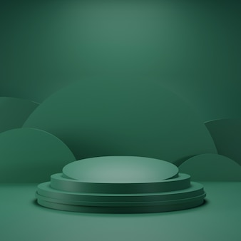 Green podium with dark green color and curved shape background