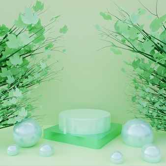 Green podium with green leaves on tree in green surface background. 3d pedestal for cosmetic advertising and product showcase