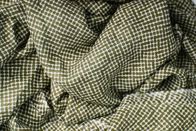 녹색 폴카 도트 패브릭 질감 배경