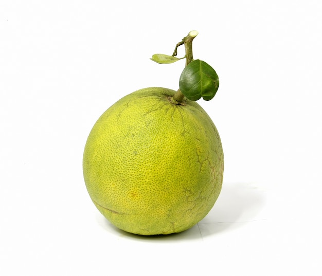 A green pomelo fruit on white background