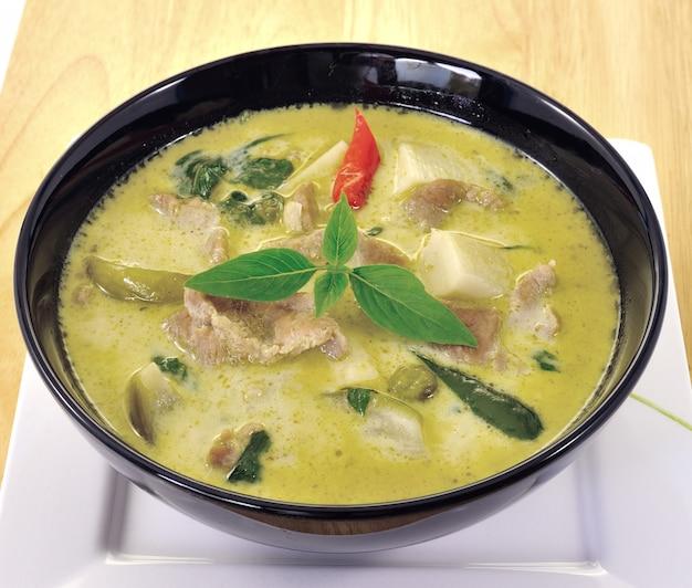 Green pork curry, thai cuisine