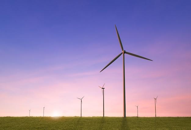Концепция зеленой энергии с 3d-рендерингом ветряной мельницы
