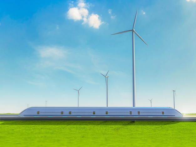 Зеленая энергия для транспортной бизнес-концепции с 3d-рендерингом пассажирского поезда в ветряной мельнице