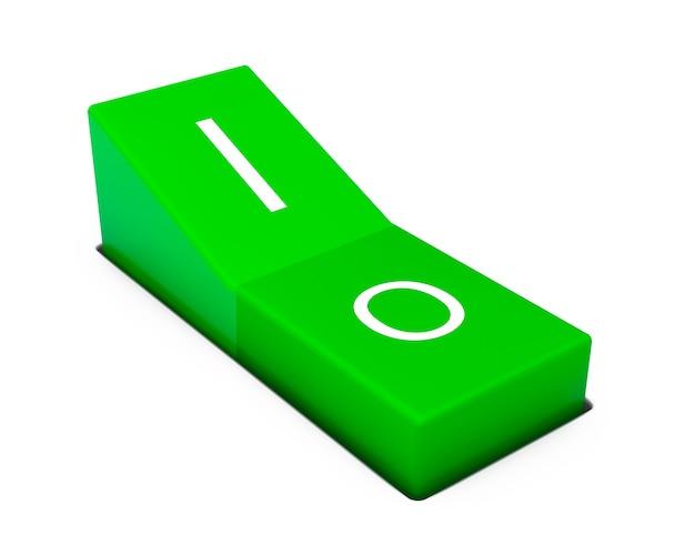 白い背景の上の緑の電源スイッチ