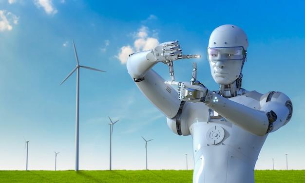 Концепция технологии зеленой энергии с 3d-рендерингом киборга, работающего на ветряной мельнице