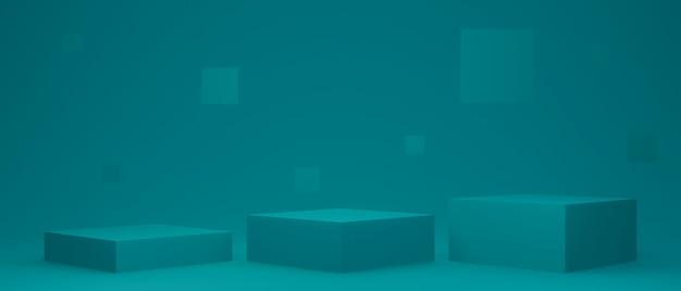 녹색 제품 스탠드입니다. 기하학적 연단입니다. 3d 렌더링.
