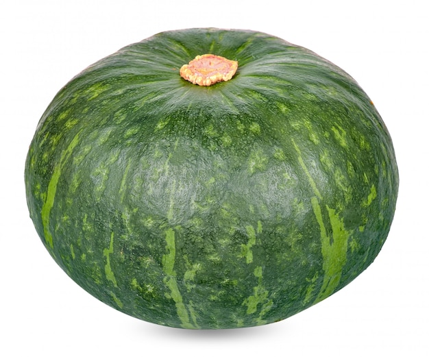 Green pumpkin isolated on white clipping path