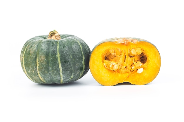 Green pumpkin isolated on the white