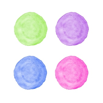 Green, purple, blue and pink circle watercolor painting textured on white paper isolated on white background