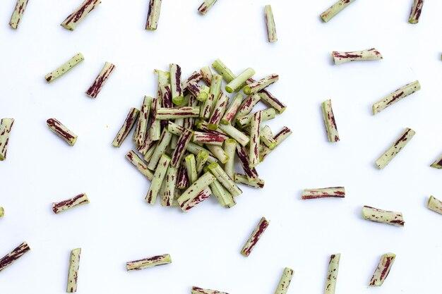 白地に緑紫のジュウロクサゲ。