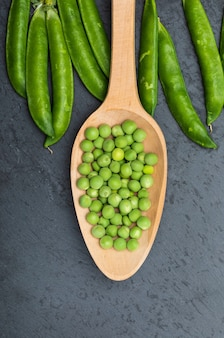 Green and raw peas.