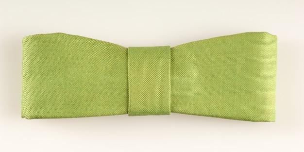 격리 된 흰색 배경에 녹색 직사각형 넥타이 나비, 상위 뷰