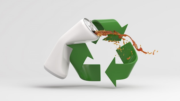 Green recycle symbol with splash water on white background 3d render