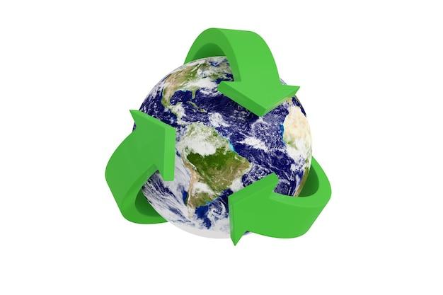 현실적인 행성 지구를 둘러싼 녹색 재활용 기호 흰색 배경에 고립입니다.