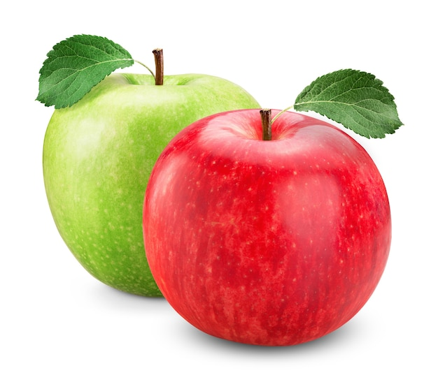 Green and red apple with leaves isolated on white