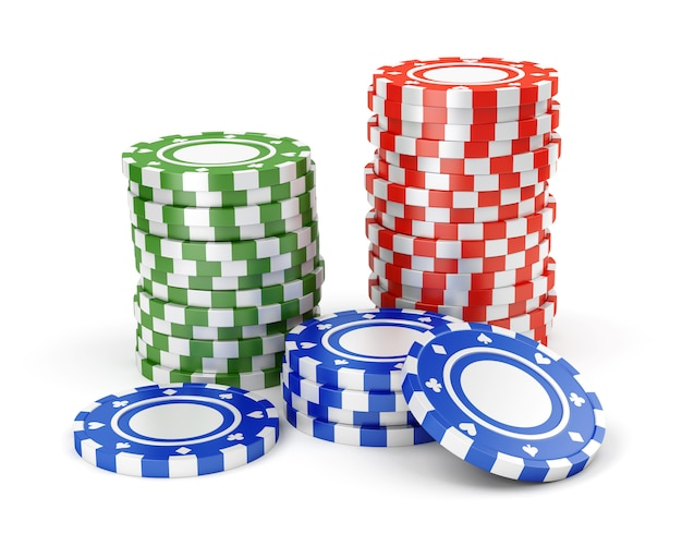 Green, red and blue casino tokens