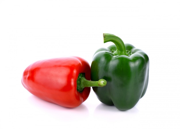 Green and red peppers isolated