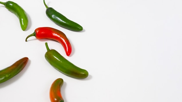 Green and red peppers with copy-space