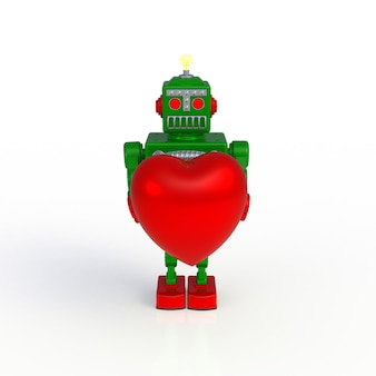 Green retro robot holding heart 3d illustration isolated on a white background