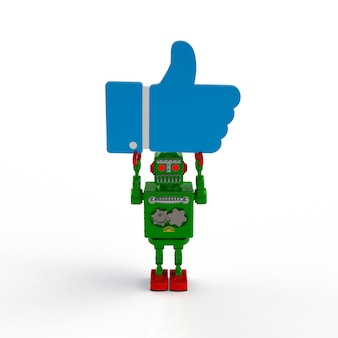Green retro robot holding like icon 3d illustration isolated on a white background